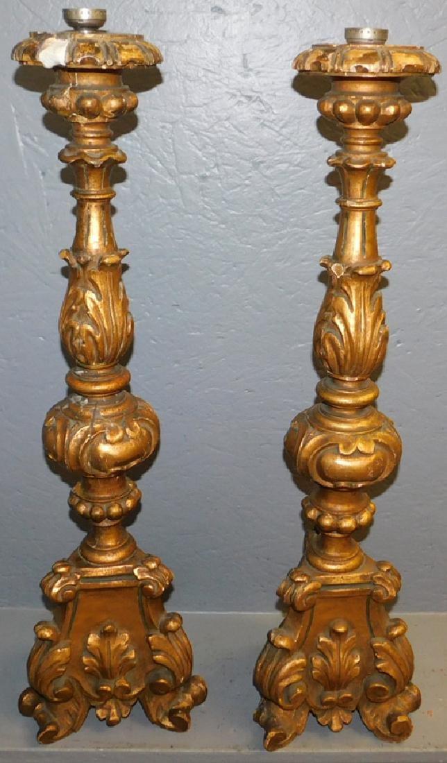 Pair of gilt wood lamp bases.