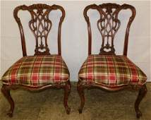 Pr mahog Chinese Chippendale chairs