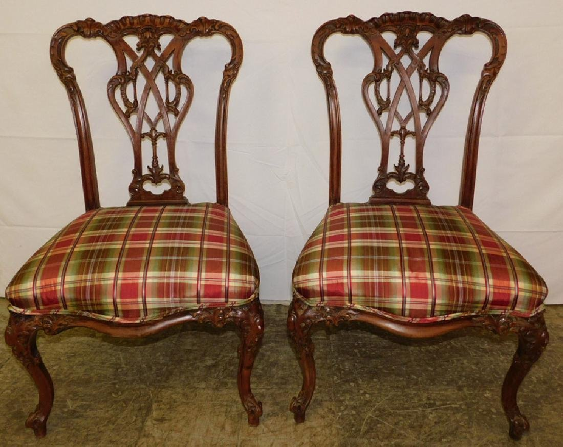 Pr. mahog. Chinese Chippendale chairs
