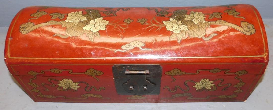 Oriental h.p. leather opium pillow box.