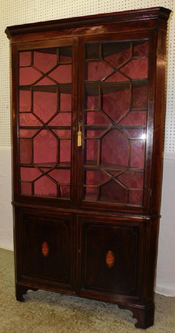 Inlaid mahogany corner cupboard