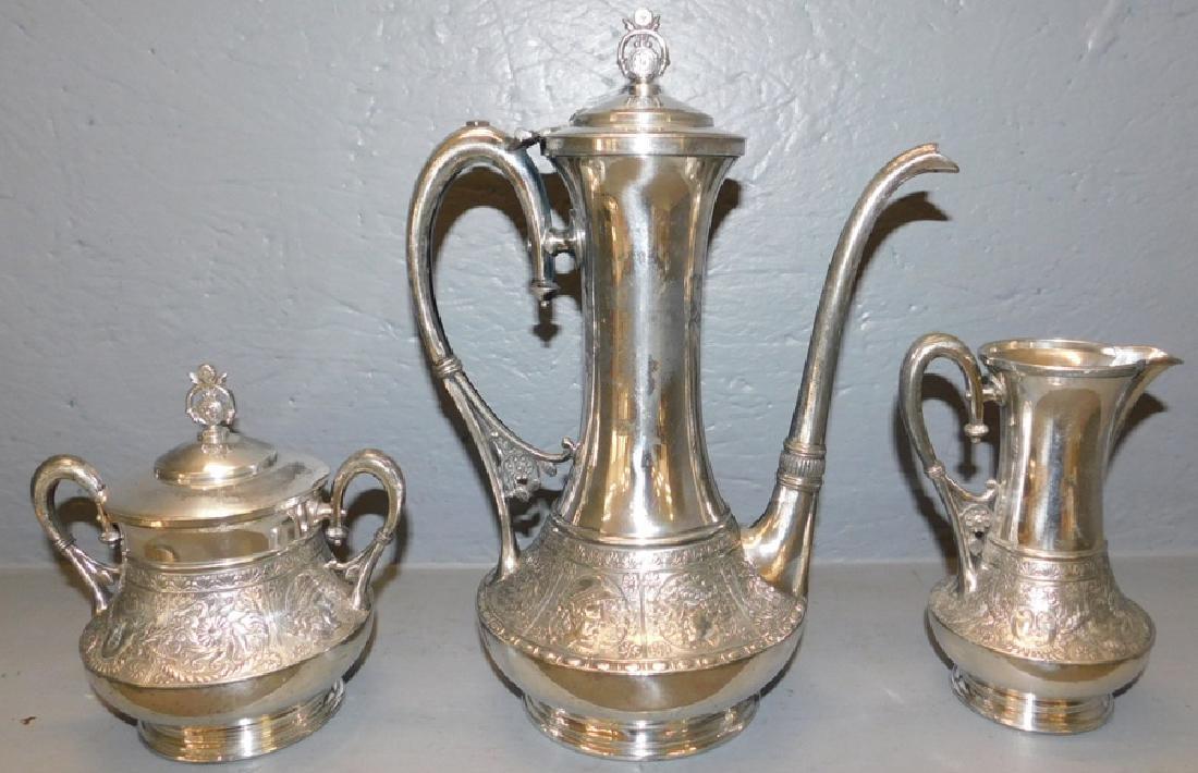3 piece silver plate tea set.