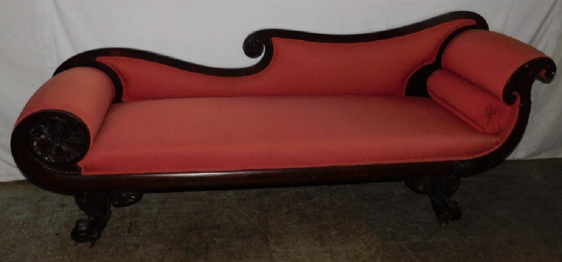 19th C classical mahogany recamier sofa