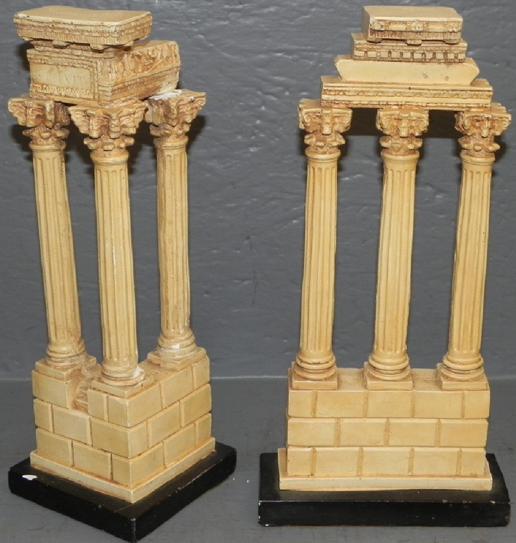 Pair of resin Italian columns.