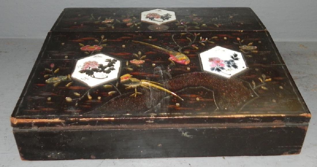 Black lacq. m.o.p. inlaid lap desk