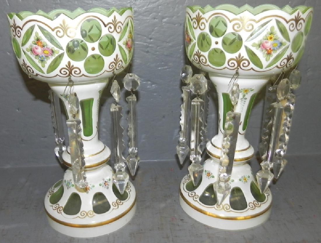 Pair of Bohemian glass lusters.