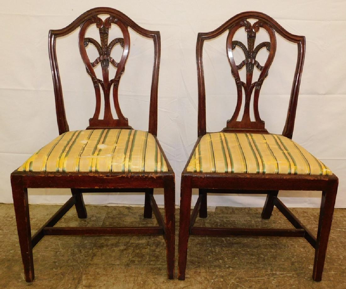 Pr. 18th C Hepplewhite dining chairs