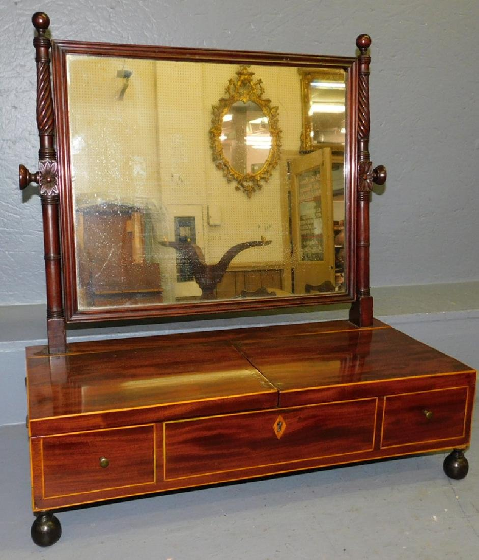 Inlaid mahogany fitted dressing mirror.