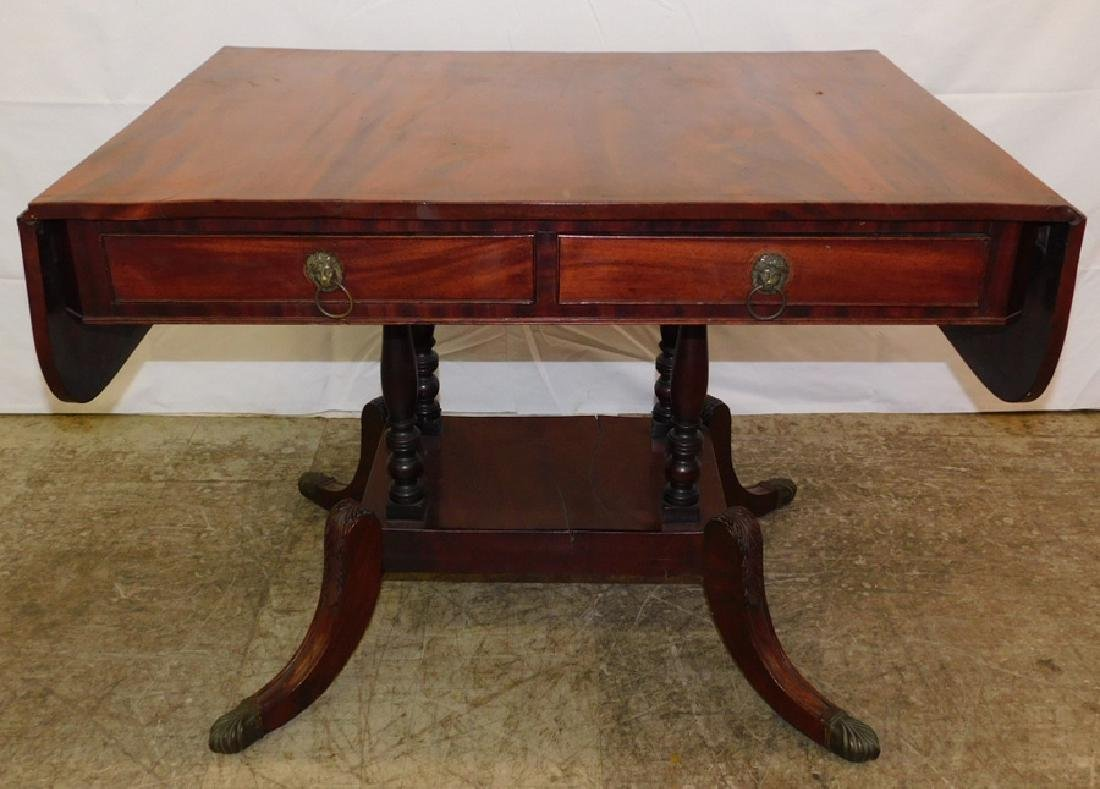 19th C mahogany Sheraton sofa table.