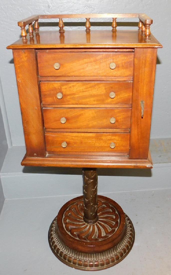 19th C lockside metal pedestal cabinet