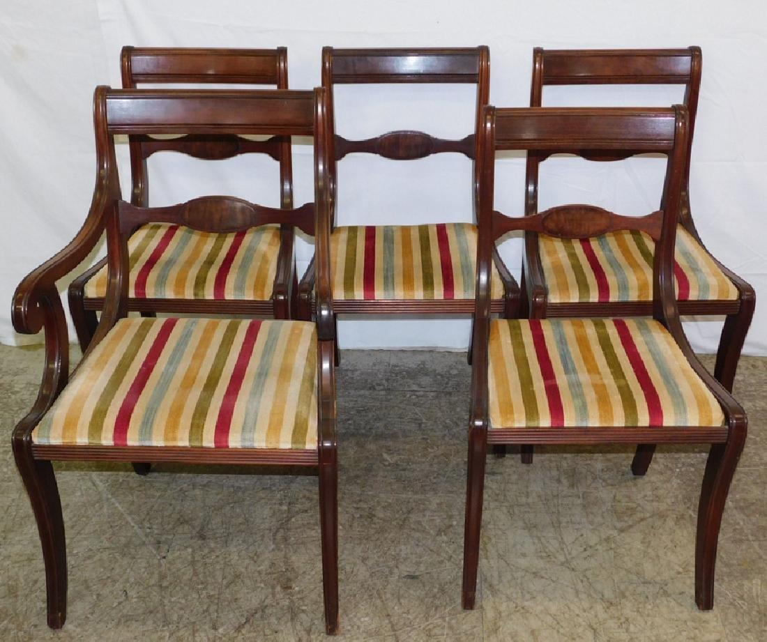5 Federal mahogany dining chairs.