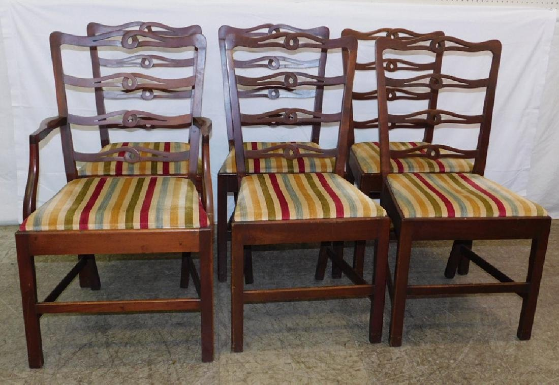 Set 6 Chippendale ladder back chairs