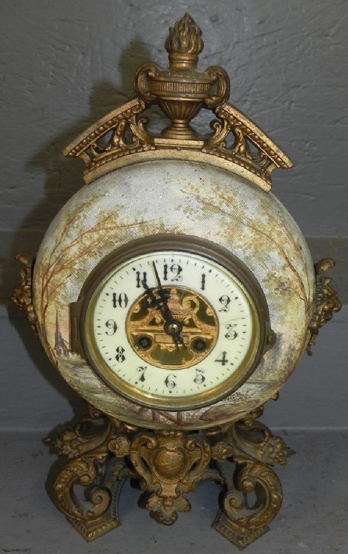 Porc. & brass Yarnier French clock