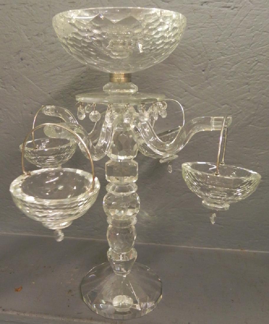 Cut glass epergne.