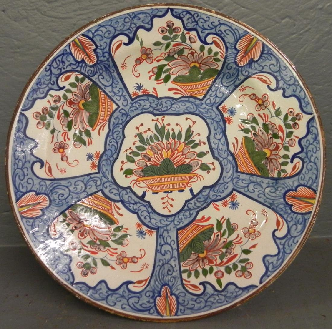 Restored 19th C Delft polychrome charger.