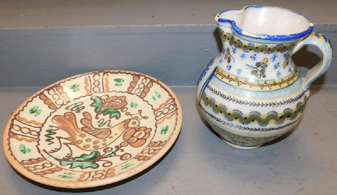 Continental Faience pitcher and charger.