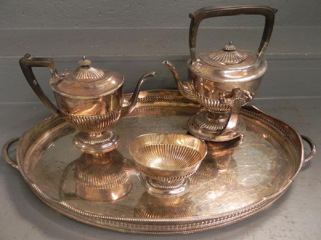 4 pc. s.p. tea service w/ gallery tray