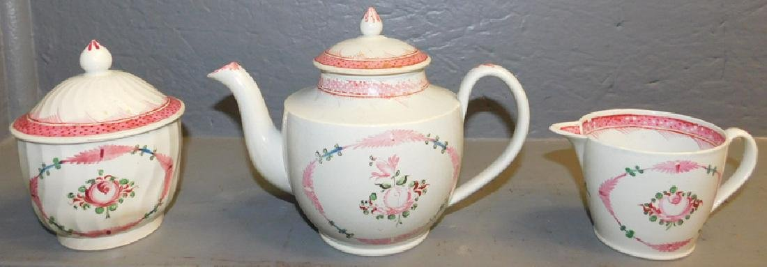 19th C 3 pc. English pearlware tea set