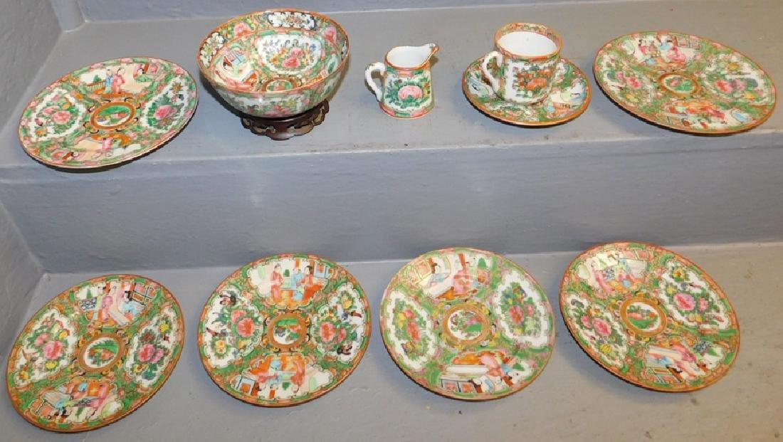 10 pieces Rose Medallion porcelain.
