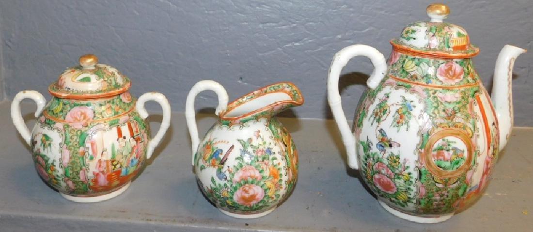 3 piece 19th C Rose Medallion tea set.