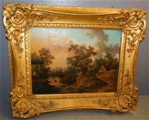 19th C OOC cottage and lake scene