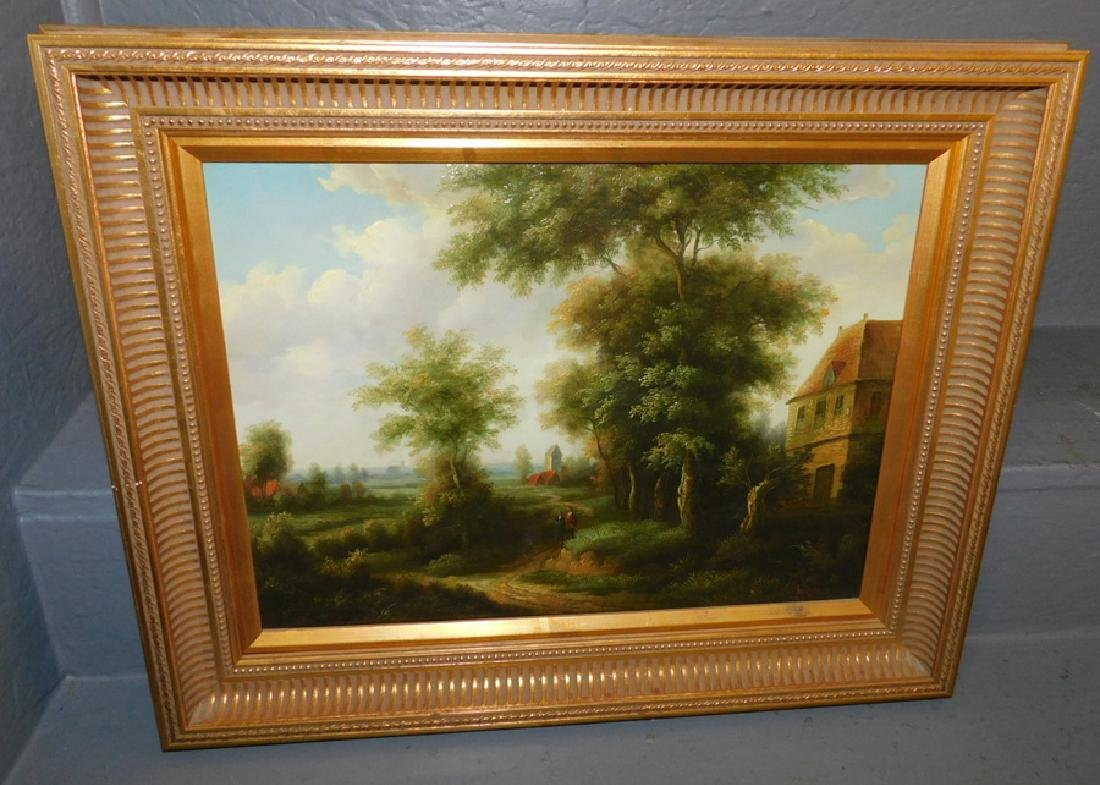 Signed OOC cottage and garden scene