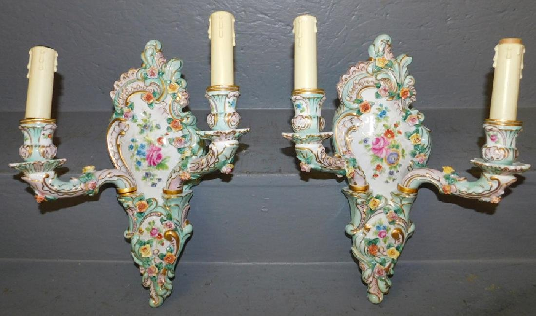 Pair of Dresden style candelabra.
