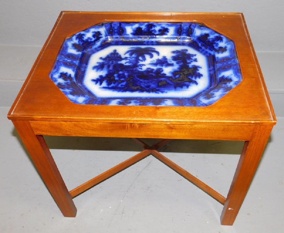 Coffee table with flow blue inset platter