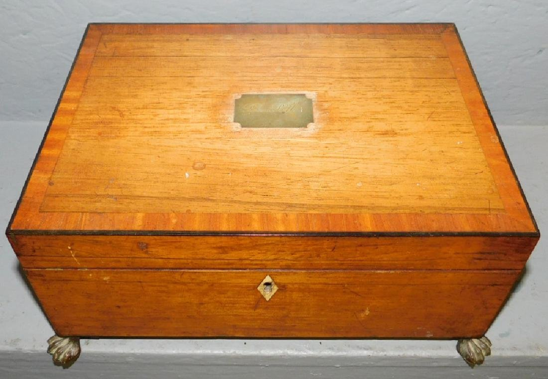 Inlaid rosewood footed sewing box.