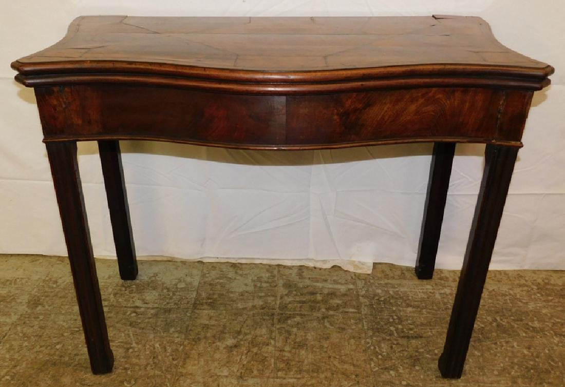 Inlaid Chippendale walnut game table.