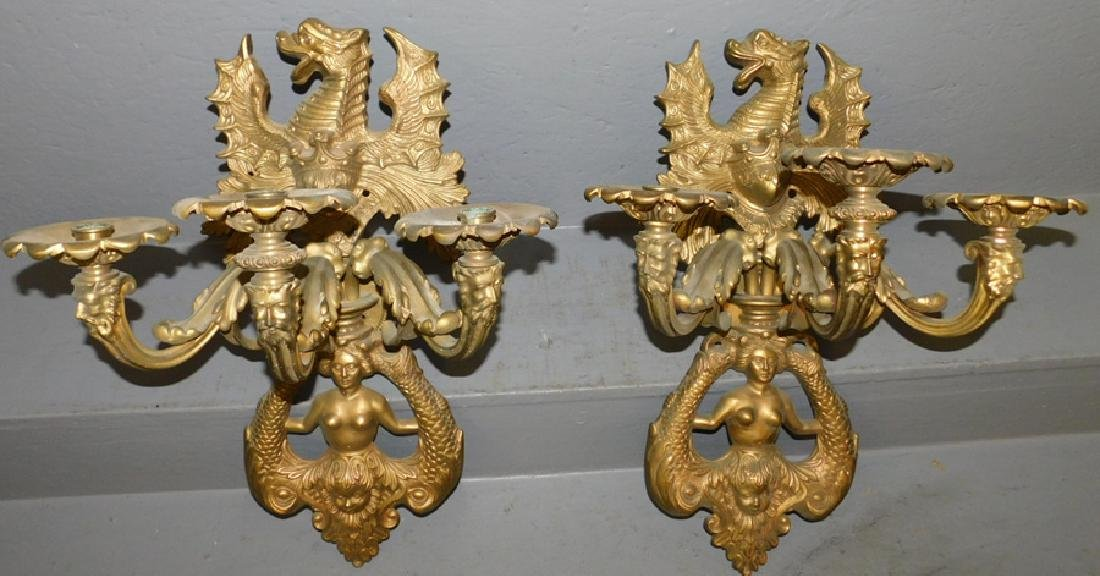 Pair of Oriental brass wall sconces.