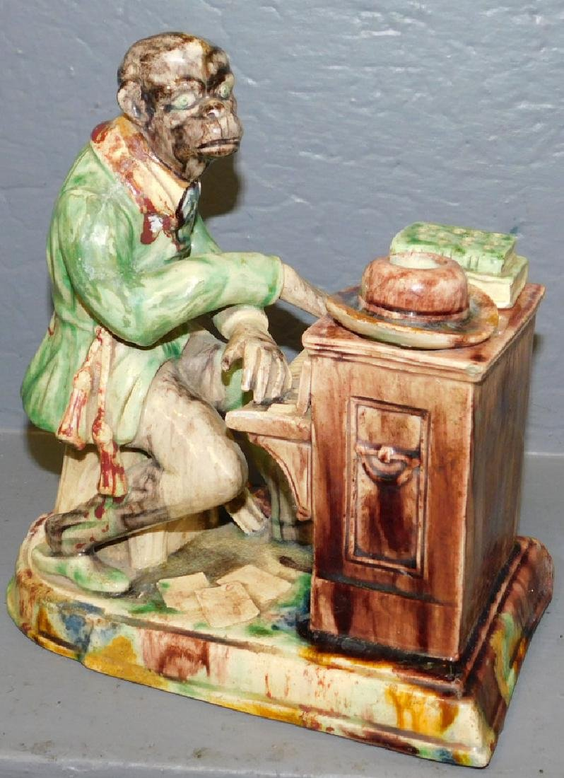 19th C Majolica rare musical monkey - restored