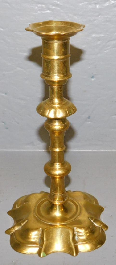 18th C QA seamed brass candlestick