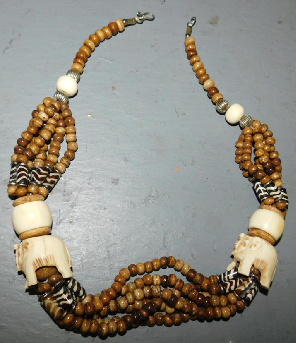 African trade bead & bone necklace