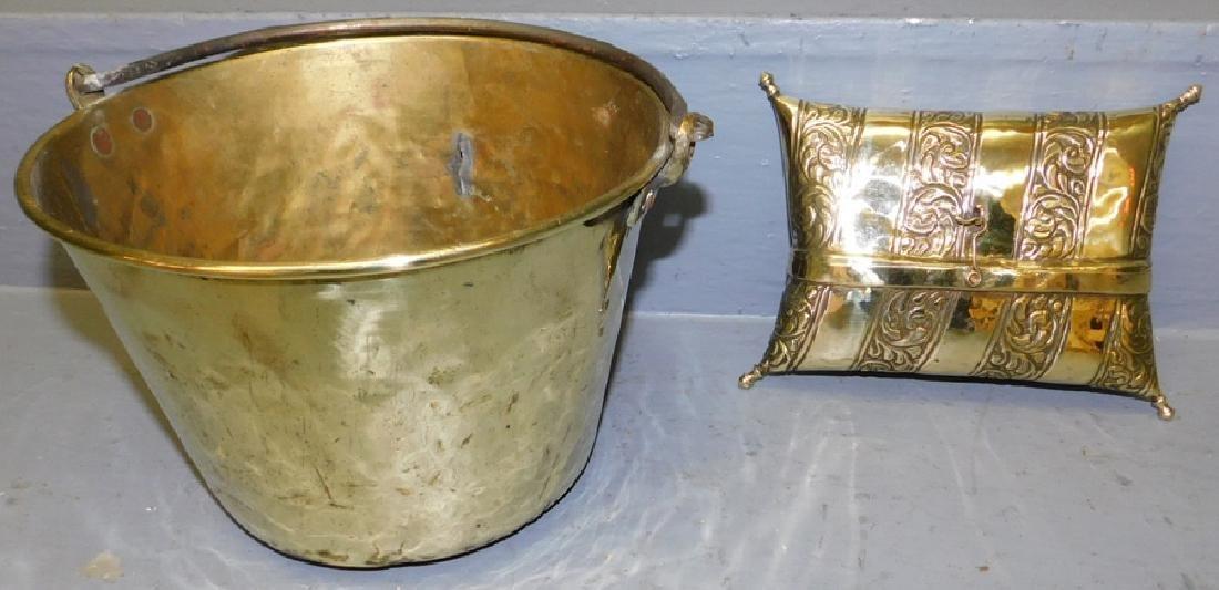 Brass jelly bucket and Brass box.