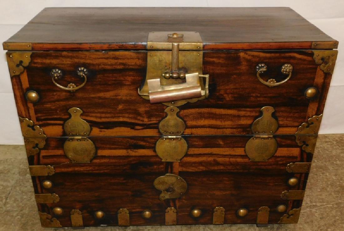 Brass bound teak Orient. blanket chest