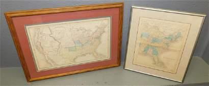 Framed Antique US Maps