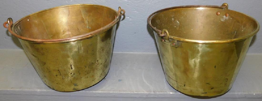 2 polished brass jelly buckets