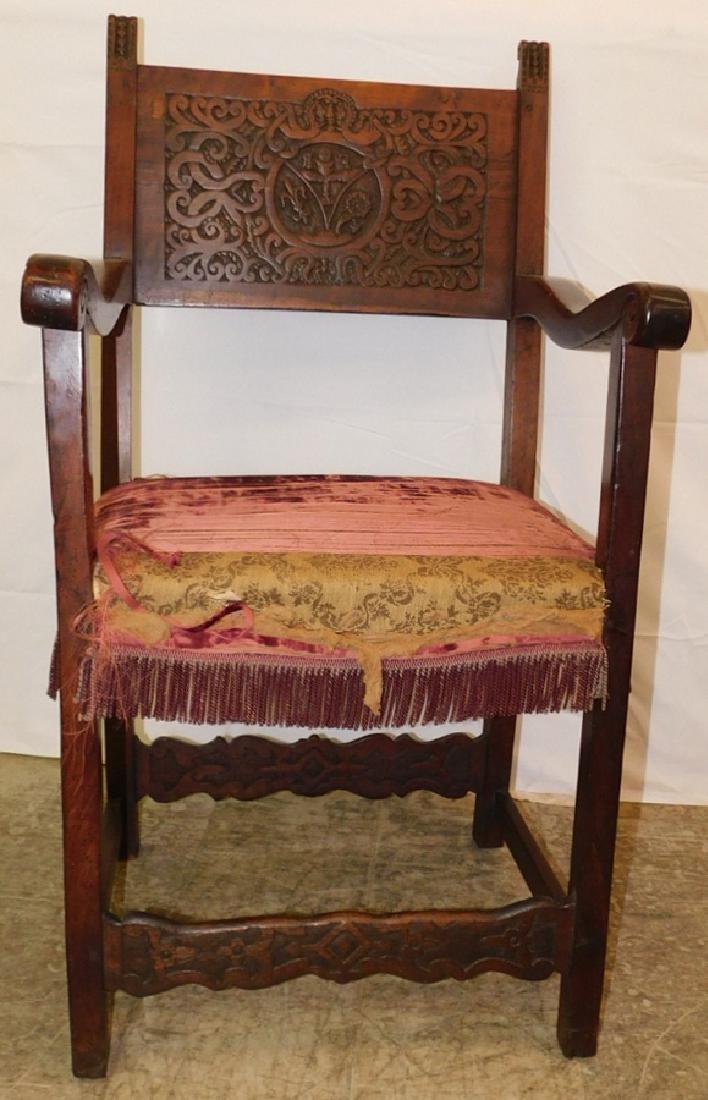18th C walnut Continental chair