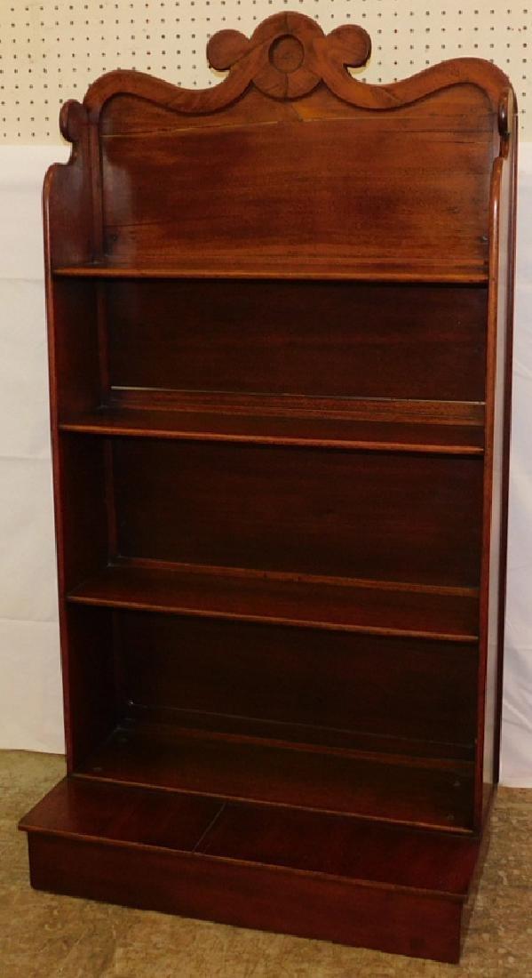 Walnut Victorian open bookcase