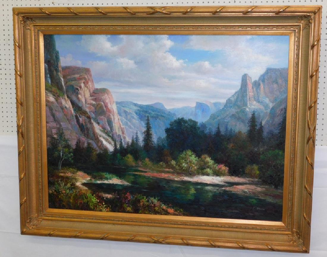 J. Brown signed OOC mountain scene
