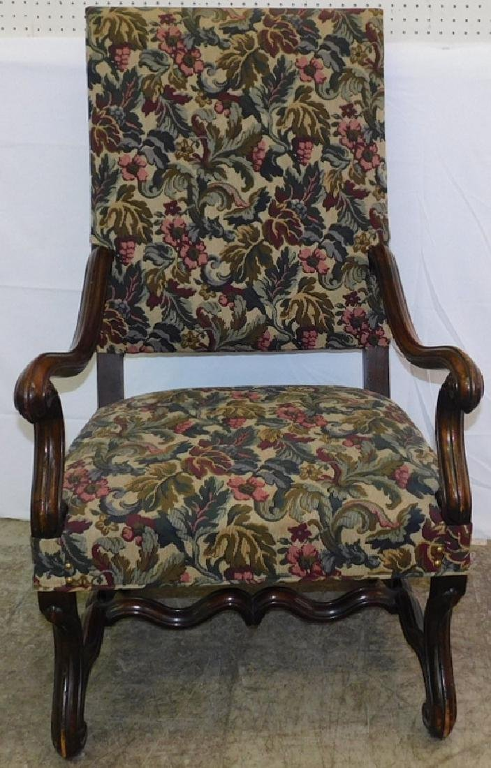 Tapestry upholst. stretcher base fauteuil