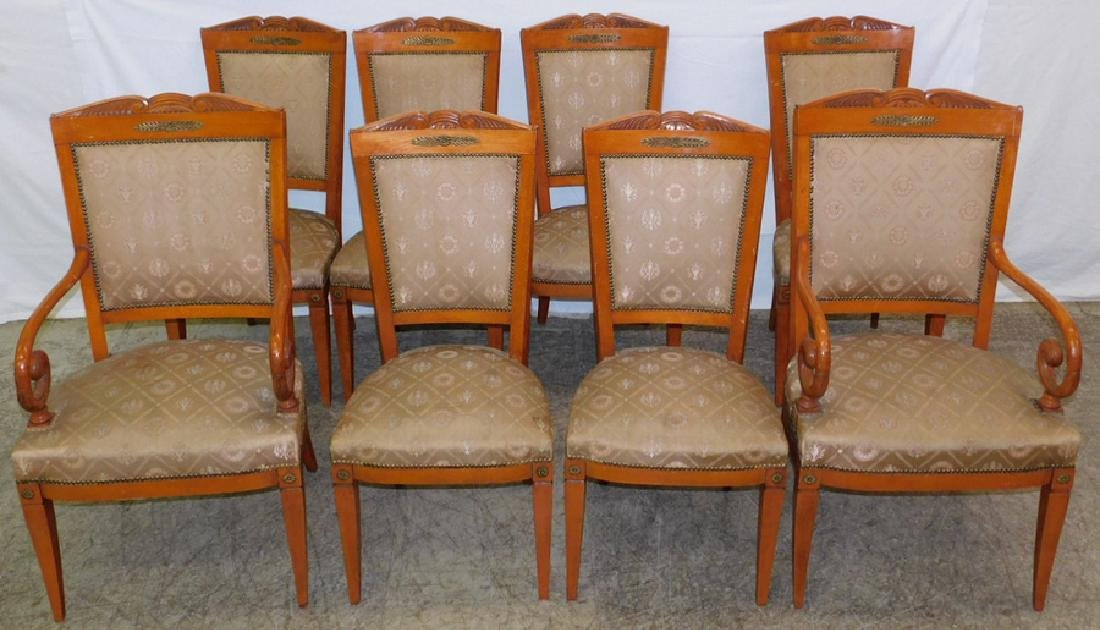 Set 8 French Empire brass mt. chairs
