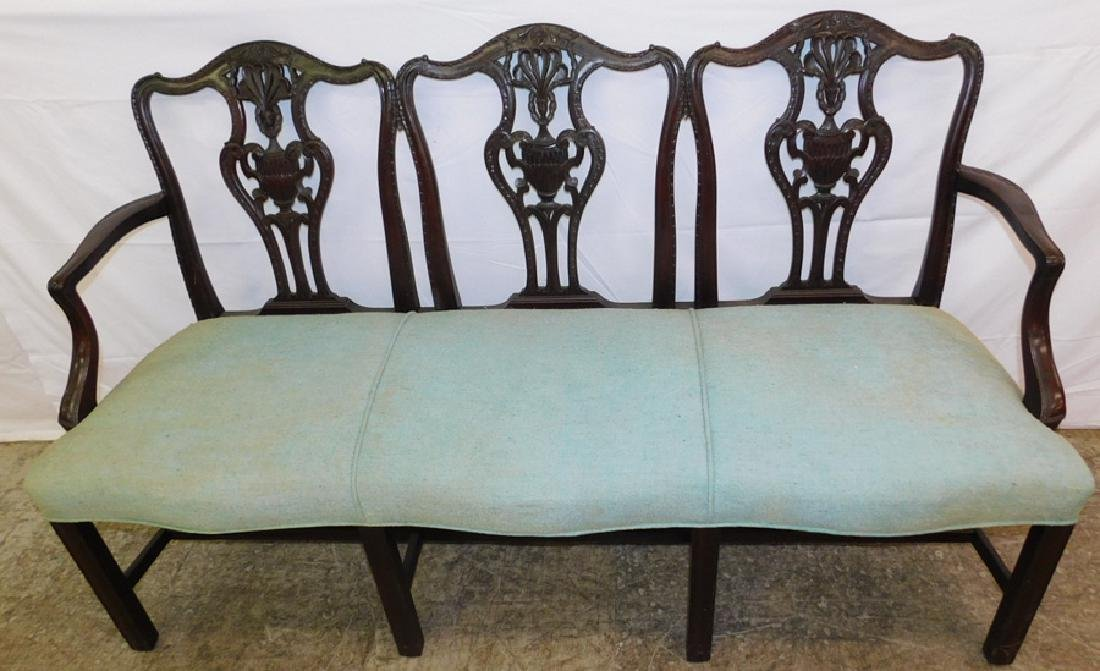 19th C Chippendale triple back settee