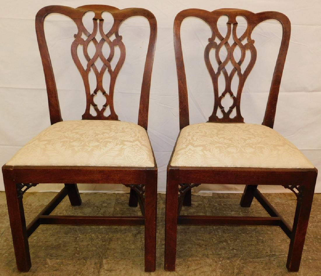 Pr.18 C Chippendale mahogany chairs
