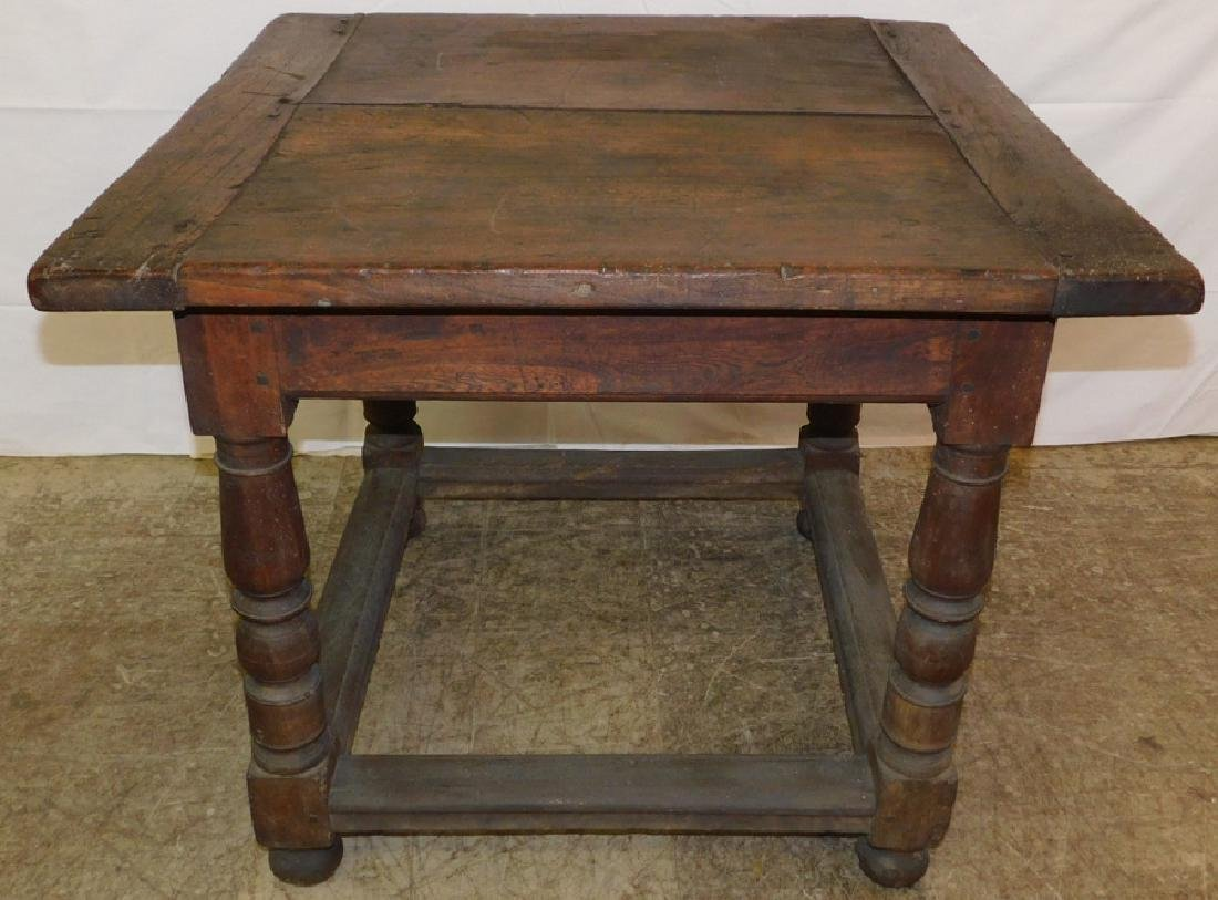 18th C stretcher base wal. tavern table