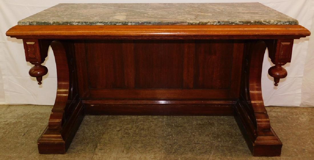 Empire marble top oak pier table