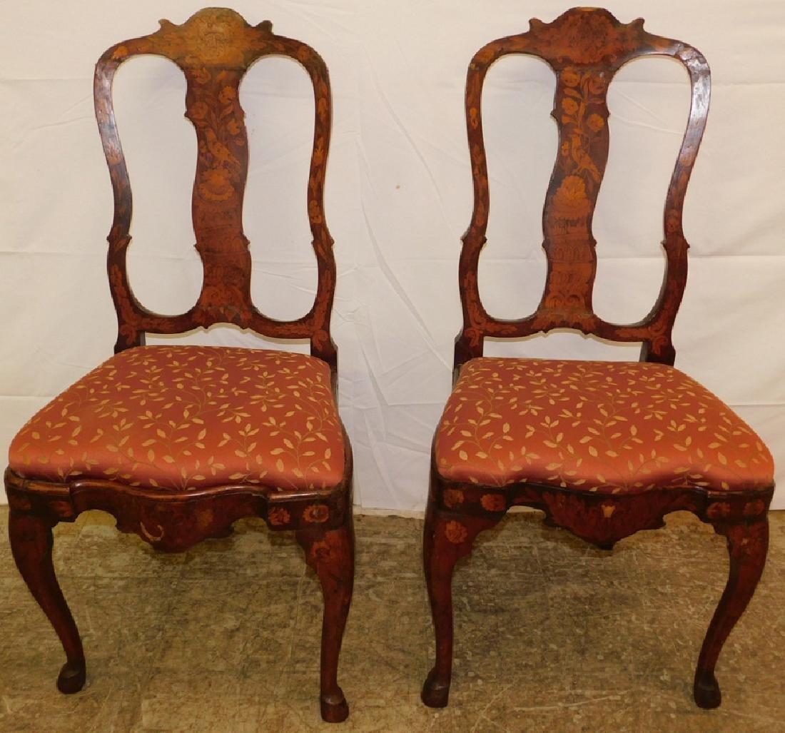 Pr. French walnut inlaid QA side chairs