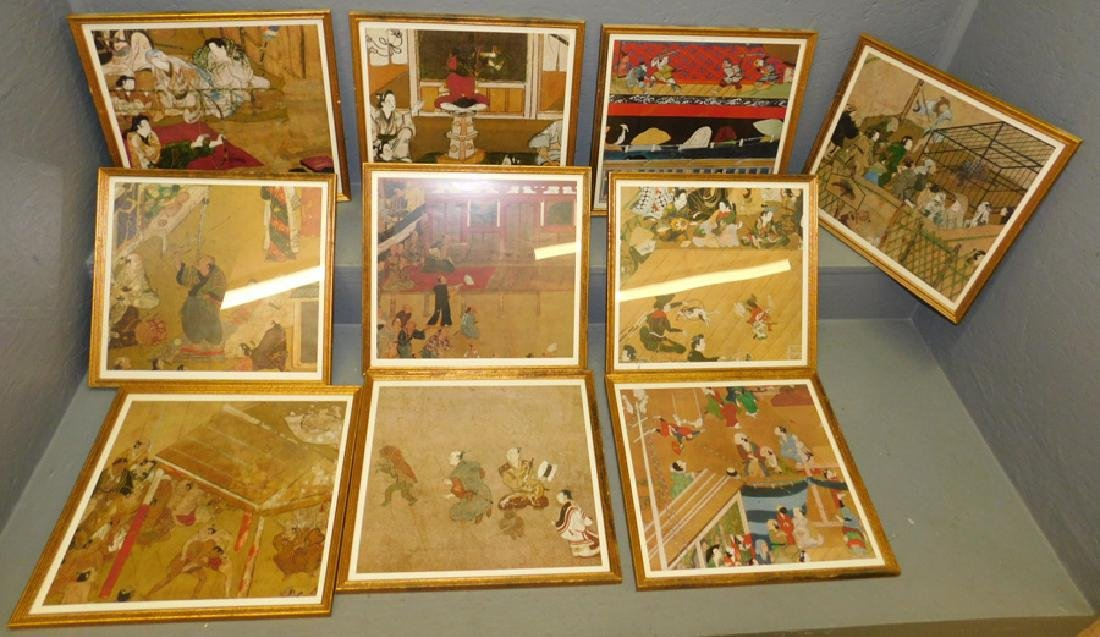 10 Japanese prints in frames.
