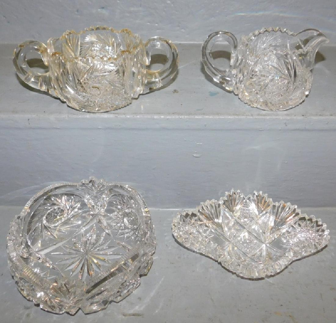 Cut glass sugar, creamer, bowl & relish dish